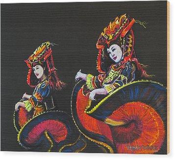 Bejing Beauties Wood Print by Tanja Ware