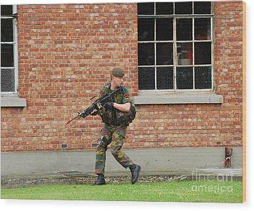 Belgian Infantrists Under Attack Wood Print by Luc De Jaeger
