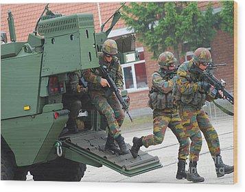 Belgian Infantry Soldiers Exit Wood Print by Luc De Jaeger
