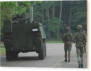Belgian Infantry Soldiers Walk Wood Print by Luc De Jaeger