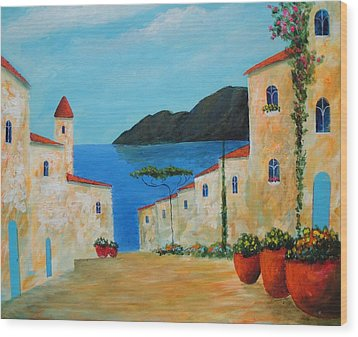 Wood Print featuring the painting Bella Italia by Larry Cirigliano