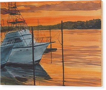 Belmar Marina Wood Print by Pete Maier