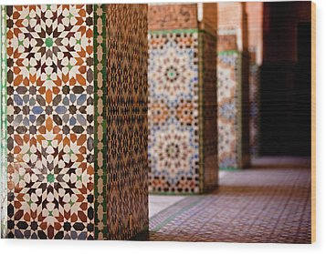 Ben Youssef Medersa Wood Print by Kelly Cheng Travel Photography