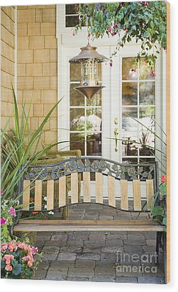 Bench On Patio Wood Print by Andersen Ross