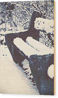 Bench With Snow Wood Print by Joana Kruse