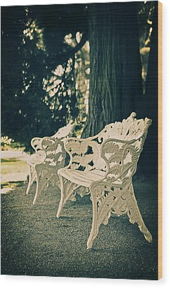 Benches Wood Print by Joana Kruse