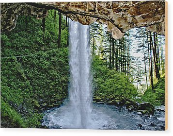 Beneath The Falls Wood Print by Rob Green