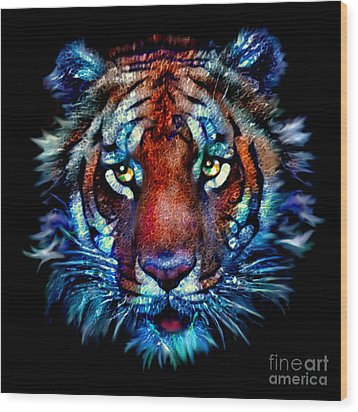 Wood Print featuring the painting Bengal Tiger Portrait by Elinor Mavor