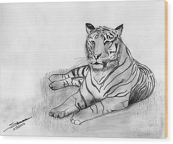 Bengal Tiger Wood Print by Shashi Kumar