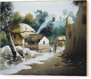 Wood Print featuring the painting Bengal Village At Noontime by Samiran Sarkar