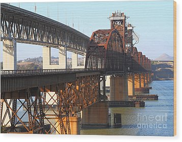 Benicia-martinez Bridges Across The Carquinez Strait In California . 7d10425 Wood Print by Wingsdomain Art and Photography