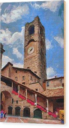Bergamo Bell Tower Wood Print by Jeff Kolker