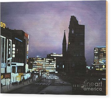 Berlin Nocturne Wood Print by Michael John Cavanagh