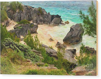 Wood Print featuring the photograph Bermuda Hidden Beach by Verena Matthew