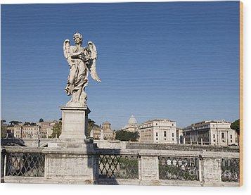 Bernini Statue On The Ponte Sant Angelo. Rome Wood Print by Bernard Jaubert