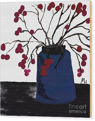 Berry Twigs In A Vase Wood Print by Marsha Heiken