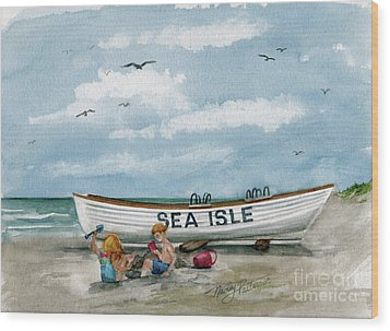 Wood Print featuring the painting Best Buddies In Sea Isle  by Nancy Patterson