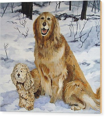 Wood Print featuring the painting Best Friends by Sandra Chase