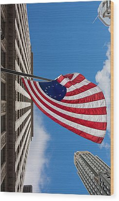 Betsy Ross Flag In Chicago Wood Print by Semmick Photo