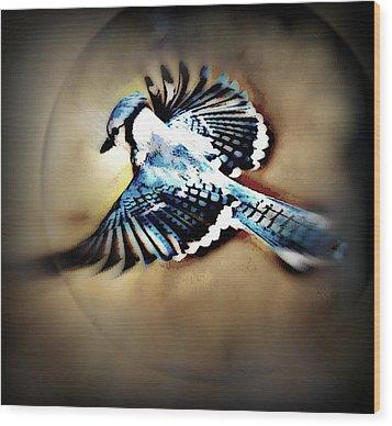 Wood Print featuring the mixed media Betty Bluejay by YoMamaBird Rhonda