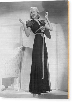 Betty Grable In Black Chiffon Dinner Wood Print by Everett