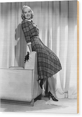 Betty Grable In Plaid, Pleated Sports Wood Print by Everett