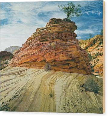 Between A Rock And A Soft Place Wood Print by Robert Keller