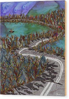 Between Lakes Wood Print by Marina Gershman