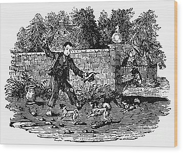 Bewick: Boy With Dogs Wood Print by Granger
