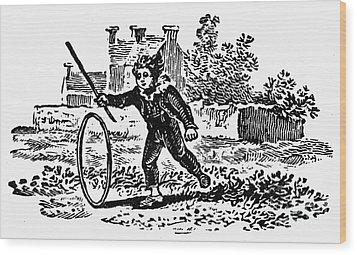 Bewick: Boy With Hoop Wood Print by Granger