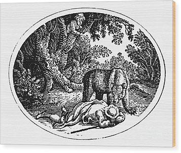 Bewick: Man And Bear Wood Print by Granger