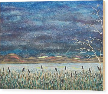 Beyond The Horizon Wood Print by Jeanette Stewart