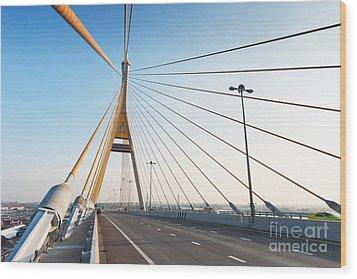 Bhumipol Bridge Wood Print by Atiketta Sangasaeng