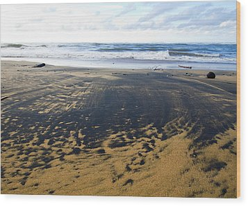Bi Color Beach  Wood Print by Tim Fitzwater