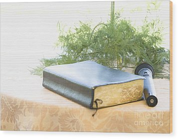 Bible And Microphone On Table Wood Print by Ned Frisk