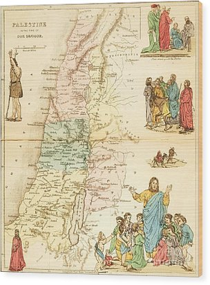 Biblical Map Palestine Wood Print by Pg Reproductions