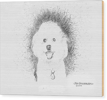 Wood Print featuring the drawing Bichon Frise by Jim Hubbard