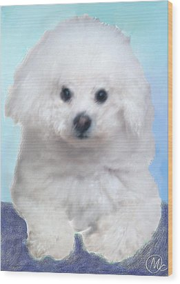 Wood Print featuring the digital art Bichon Frise by Mary M Collins