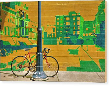 Bicycle And Mural Wood Print by Steven Ainsworth
