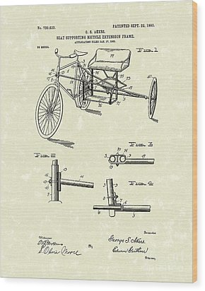 Bicycle Extension Frame 1903 Patent Art Wood Print by Prior Art Design