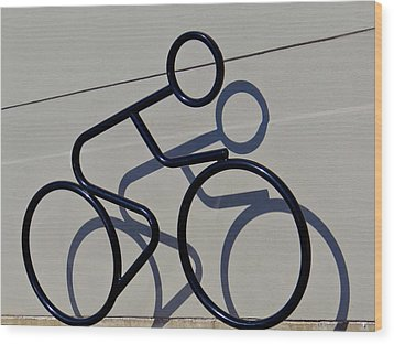 Bicycle Shadow Wood Print