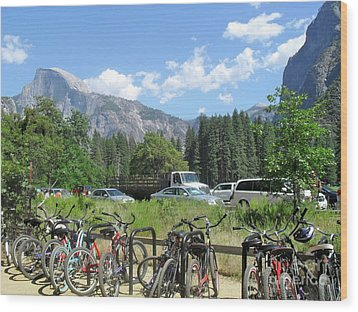 Bicycles Yosemite Wood Print by Beth Saffer