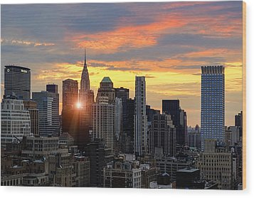 Big Apple Brilliance Wood Print by Janet Fikar