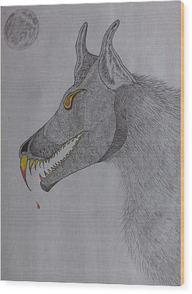 Wood Print featuring the drawing Big Bad Wolf by Gerald Strine