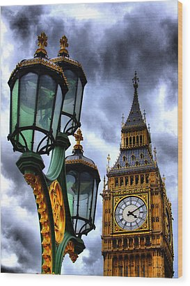 Big Ben And Lamp - Hdr Wood Print by Colin J Williams Photography