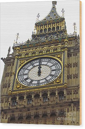Big Ben High Noon Wood Print by Beth Saffer
