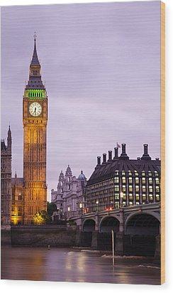 Big Ben In Twilight Wood Print