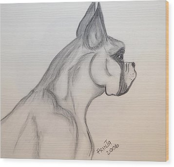 Wood Print featuring the drawing Big Boxer by Maria Urso