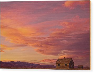 Big Colorful Colorado Sky And Little House On The Prairie Wood Print by James BO  Insogna