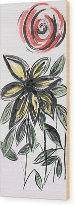 Wood Print featuring the painting Big Flower by Alethea McKee